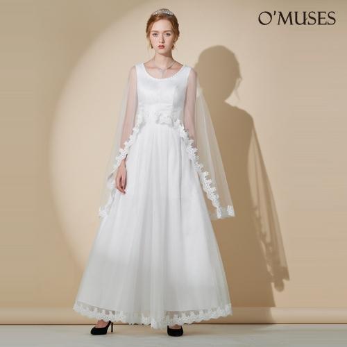 OMUSES 兩件式蕾絲刺繡伴娘婚紗訂製白色長禮服
