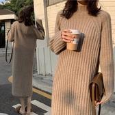 秋冬高領中長款打底內搭毛衣女氣質網紅加厚過膝針織長裙