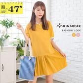 長上衣--清新可愛彩色線條羅紋邊抽皺裙襬短袖連身裙(粉.黃L-3L)-U545眼圈熊中大尺碼