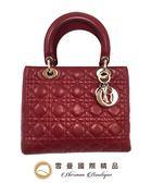 【雪曼國際精品】Christian Dior  LADY DIOR小羊皮經典黛妃手提包~二手商品(8.5)成 新