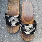 包頭一字日本日式厚底防滑橡膠木頭木質木屐...