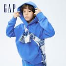 Gap童裝 素色刷毛寬鬆連帽休閒上衣 743047-藍色