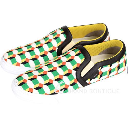MOA SLIP ON QUADRATI 幾何圖形帆布便鞋(白x綠色) 1430466-A3