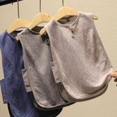 薄料麻棉鏤空網眼兒童背心男童無袖t恤寶寶寬鬆T中小童琵琶衫   伊衫風尚