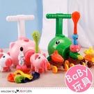 升級版粉豬蔬菜造型空氣動力車 氣球車 益智玩具