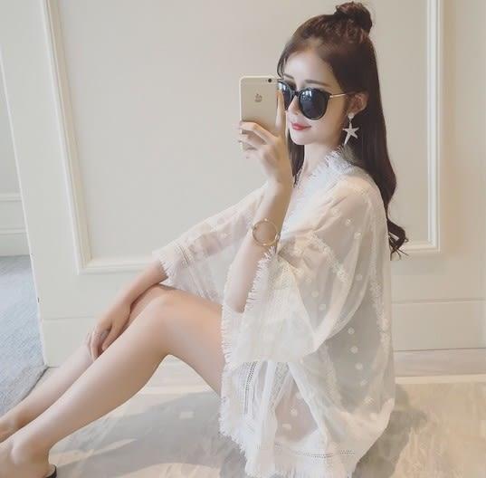 EASON SHOP(GU5306)寬鬆披肩流蘇開衫五分袖落肩斗篷薄外套雪紡落肩白色防曬衫空調衫韓版女上衣服