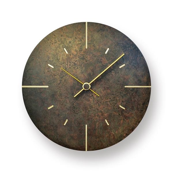 日本 Lemnos Orb Wall Clock 18cm 斑斕系列 青銅 圓形 壁鐘 - 小尺寸(黑色鐘面 - 黃銅色指針)