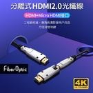 《名展影音》 Fiber Optic 12米 4K光纖 分離式 2.0 HDMI線 4K 60P 小轉大接頭設計(易佈線穿管)