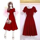 一字領洋裝 復古收腰顯瘦可兩穿一字領露肩中長款雪紡連身裙夏紅色小個子裙子