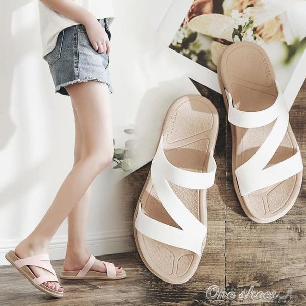 一字拖厚底拖鞋女度假沙灘鞋時尚海邊女士涼拖鞋外穿 交換禮物