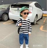 男童長袖-連帽衛衣新款兒童條紋衛衣秋冬裝男寶寶長袖 東川崎町