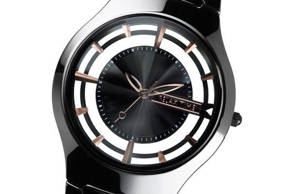 RELAX TIME 關詩敏 鏤空陶瓷腕錶 藍寶石水晶 黑色陶瓷 黑X玫 女錶 RT-57-11