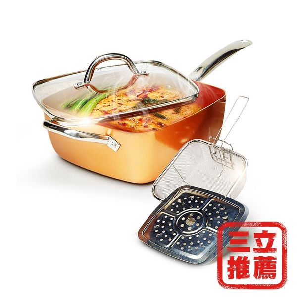 【COPPER CHEF】多功能方型不沾鍋組(加贈鏟具四件組)-電電購