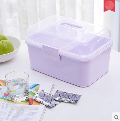 振韻  便萬家 家庭用藥箱 多層大號便攜急救箱醫藥箱-炫彩店(淡紫)