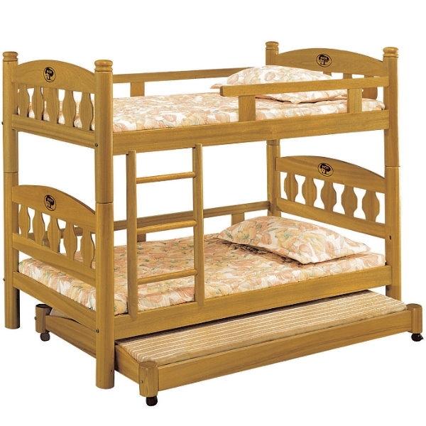 雙層床 AT-597-1 3.5尺烏心石圓柱三層床 (不含床墊) 【大眾家居舘】