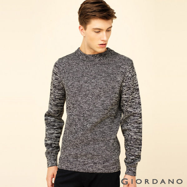 GIORDANO 男裝純棉素色半高領針織衫 - 08 雙絞煙灰
