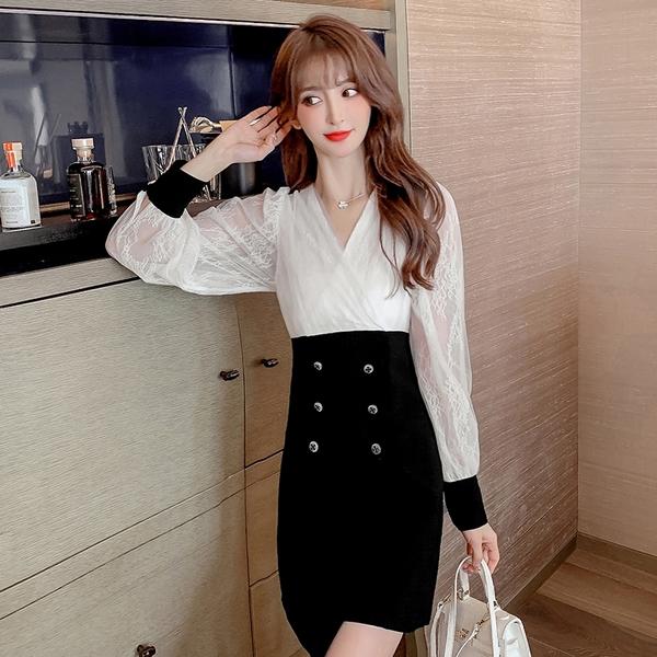 出清388 韓國名媛風假兩件網紗蕾絲包臀雙排扣長袖洋裝