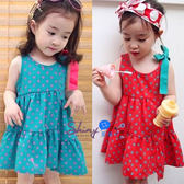 【R0336】shiny藍格子-嬰幼館.夏裝女童絲帶點點款連身背心裙
