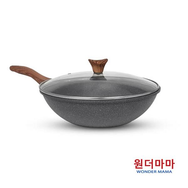 【優多生活】韓國WONDER MAMA 灰鈦木紋不沾鍋具(炒鍋+湯鍋+鍋蓋)