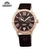 ORIENT 東方錶 ELEGANT系列 雙眼鑲鑽機械錶 皮帶款 FET0Y001T 咖啡色 - 37mm
