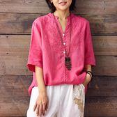 棉麻上衣 寬鬆繡花苧麻襯衫套頭麻料上衣大碼女裝短袖夏新款棉麻女裝  都市時尚