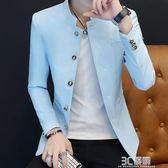 西服男小西裝修身韓版男士外套上衣帥氣立領青年學生潮流休閒西裝 3c優購