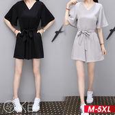 韓系V領休閒收腰綁帶短袖連身褲 M-5XL O-ker歐珂兒 16011