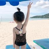 兒童泳衣女童時髦游泳裝蕾絲露背吊帶公主訓練泳衣海灘度假泡溫泉