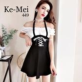 克妹Ke-Mei【ZT67522】vintage龐克古著黑白撞色腰封綁帶露肩洋裝
