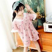 女童睡衣 夏季兒童寶寶家居服薄款女孩純棉兩件套裝夏天大童12歲15 果實時尚