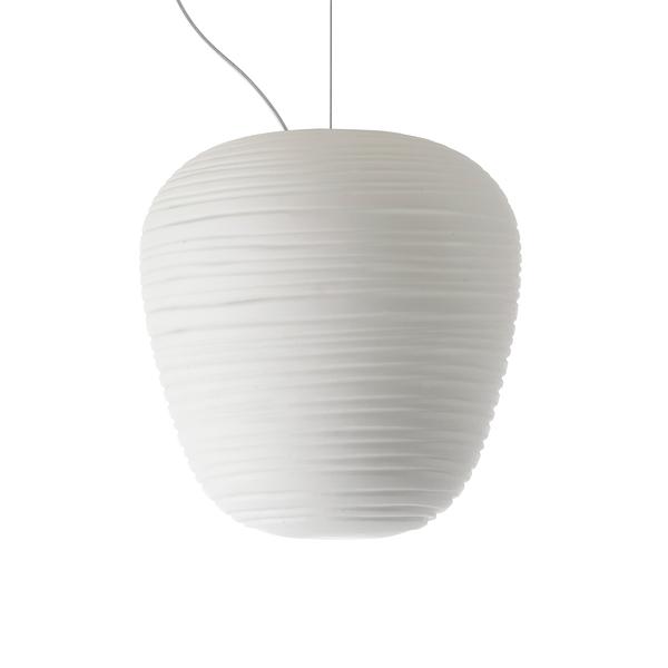 義大利 Foscarini Rituals 3 Suspension Lamp 19cm 玻璃刻紋系列 霧白 造型吊燈 - 倒三角型