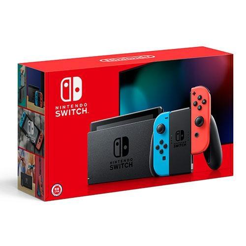 Nintendo Switch新款主機-紅藍手把+螢幕保護貼【愛買】