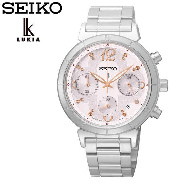 SEIKO LUKIA 20周年紀念粉色幸運草太陽能三眼鋼帶女錶 SSC857J1 V175-0CZ0S 公司貨 藍寶石水晶鏡面