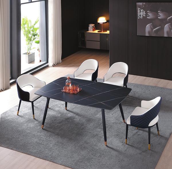 735-8 SK30A岩板 大理石黑140餐桌 (黑砂修金腳) W140×D80×H74公分