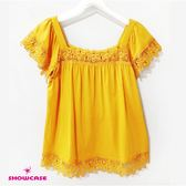 【SHOWCASE】甜美方領蕾絲拼接上衣(黃)