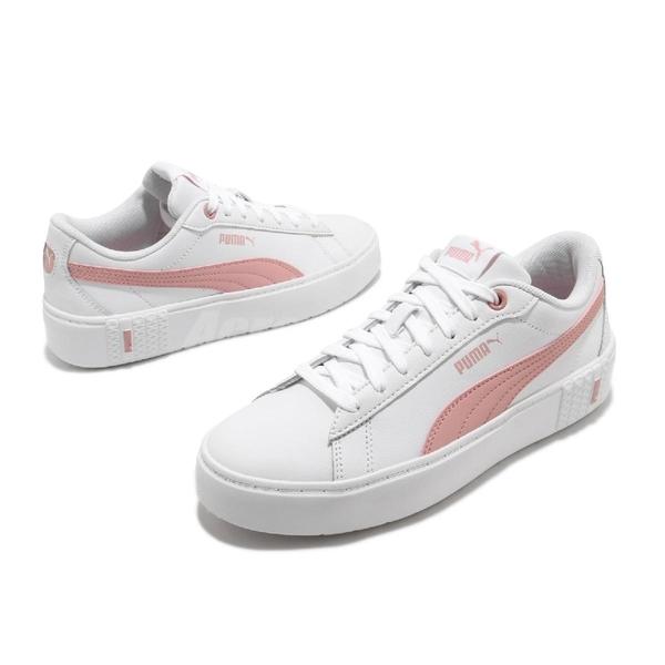 Puma 休閒鞋 Smash Platform V2 L 白 粉紅 女鞋 厚底 增高 運動鞋【ACS】 37303505