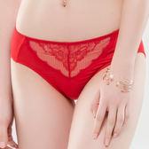 思薇爾-緹花漫舞系列M-XXL蕾絲中腰三角內褲(卡宴紅)