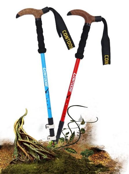 戶外碳素超輕伸縮T型折疊登山手杖Ac8651『時尚玩家』