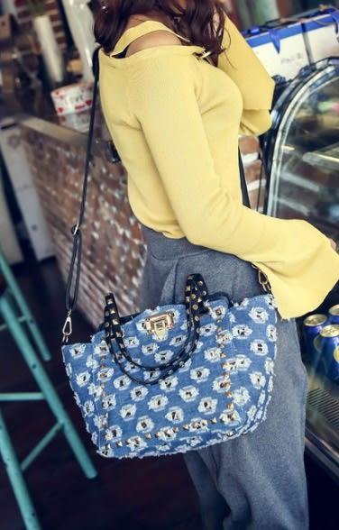 熱銷歐美 Denim 牛仔布包 牛仔褲 單肩包 簡約時尚手提  斜背包 旅行 學生 女肩背包 手提包 購物包