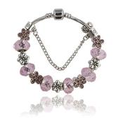 串珠手環-甜美粉色鑲鑽小花水晶飾品女配件73kc302【時尚巴黎】