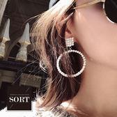 「預購」耳環 S925銀針歐美精緻水鑽拼接幾何造型大圓圈耳環【1DDE0910】