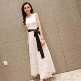 新款夏波西米亞度假長裙沙灘裙蕾絲洋裝溫柔仙女白色大擺裙 提拉米蘇