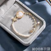 巴洛克天然珍珠手錬女ins小眾設計森系網紅繞線手串個性氣質飾品 moon衣櫥