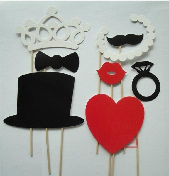 8款迎賓派對用品紙鬍子帽子 創意愛心婚慶拍攝道具─預購CH280