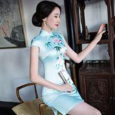 秋夏季新款改良日常休閒短袖修身旗袍民族風短款洋裝中裙禮服女 初語生活