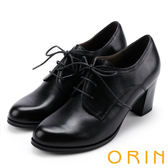 ORIN 漫步英倫街頭 牛津皮料縫線綁帶粗跟踝靴-黑色
