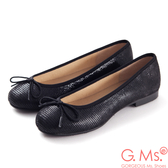 G.Ms.*MIT系列-全真皮蝴蝶結蜥蝪紋芭蕾舞鞋- 蜥蝪黑