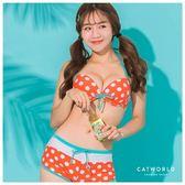 Catworld 橘子汽水。撞色印花綁帶泳裝組【16600313】‧F