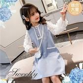 大童可~小香風花朵造型長袖洋裝(附包包)-現貨(300049)【水娃娃時尚童裝】