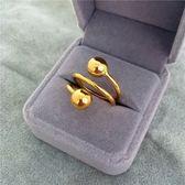 鍍24k黃金色光面磨砂轉運珠戒指不掉色仿越南沙金指環